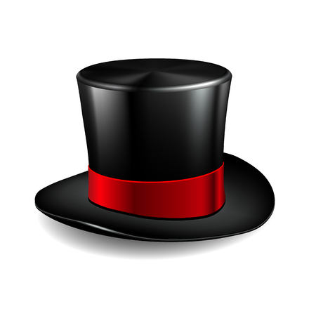 Black cylinder hat with red ribbon.