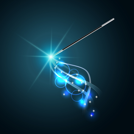 Magic wand with magical blue sparkle trail.