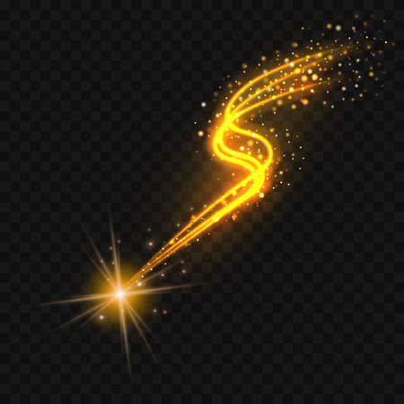 Gold Falling star with a glittering trail on black background. Vector eps10 illustration.