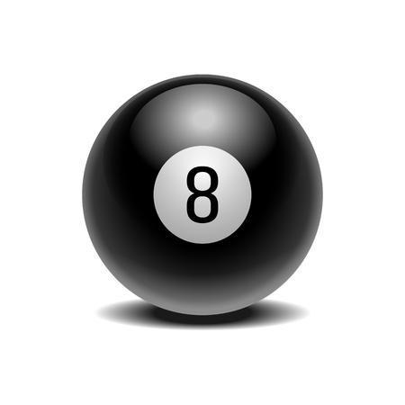 Realistic black Eight Ball of predictions Illustration