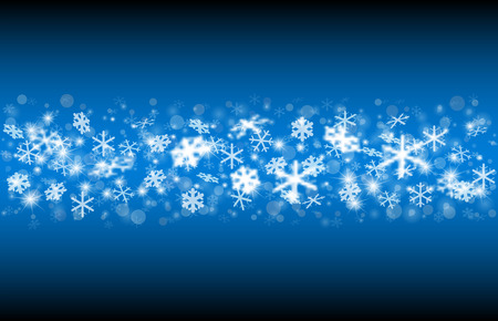 Falling snow on a blue background. Vector realistic snowflakes for decoration and covering. Concept of Merry Christmas and Happy New Year.