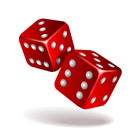 Two red falling dice isolated on white background.