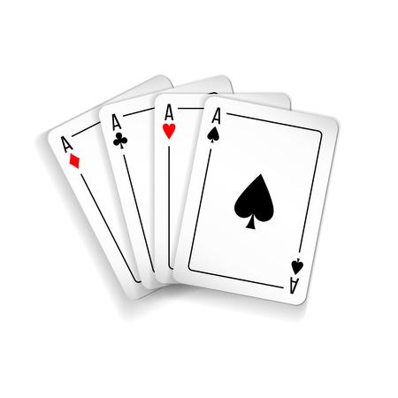 Set of four aces deck of cards illustration.