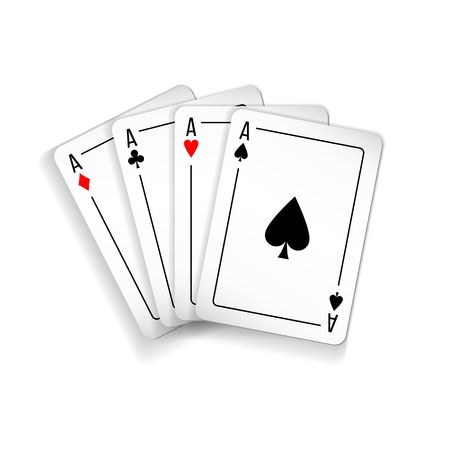 Set of four aces deck of cards illustration.