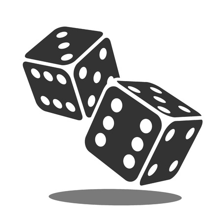 Two black falling dice isolated on white. Casino gambling template concept. Vector illustration