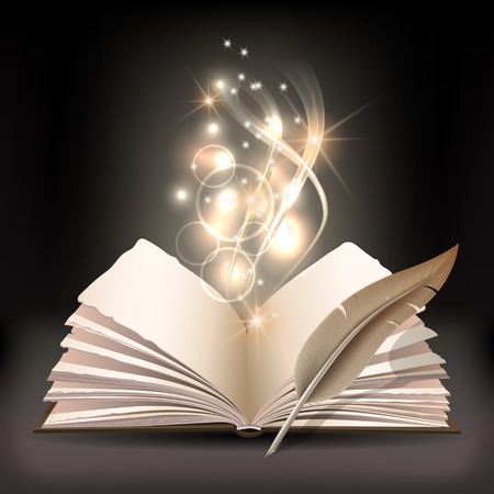 Open book with mystic bright light and feather Vectores