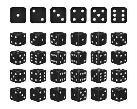 Set of 24 icons of dice in all possible turns