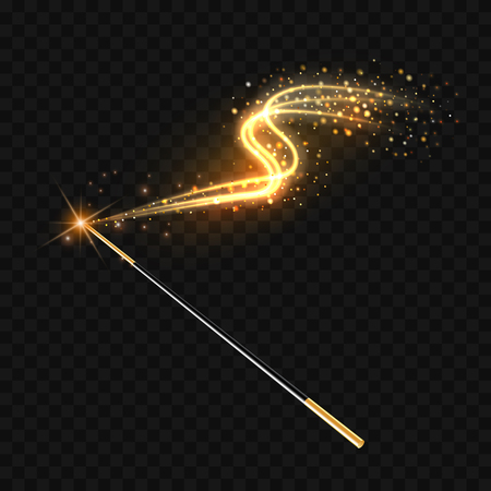 Magic wand with magical gold sparkle trail