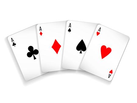 Set van vier kaarten met azen