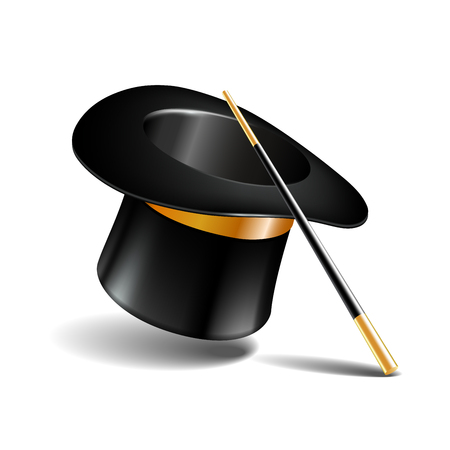 Magic hat and wand isolated on white