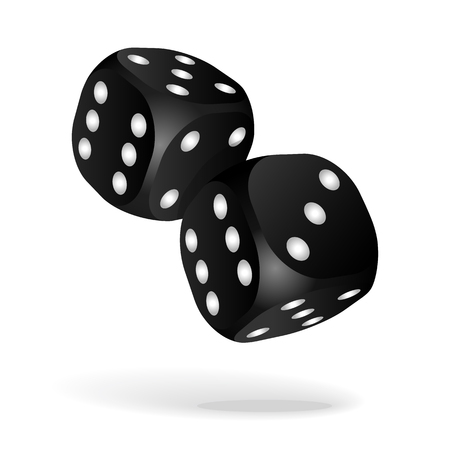 Black dice with white pips on the white background