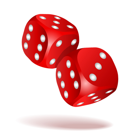 Red dice with white pips on the white background illustration. Vectores