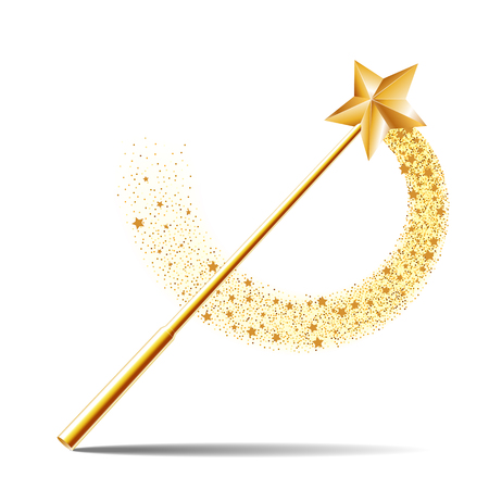 Magic wand with gold star illustration on white background.