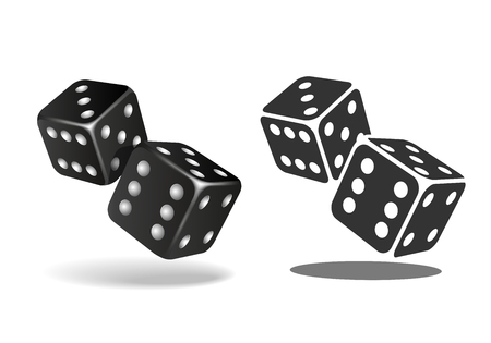 Two black falling dice isolated on white background.