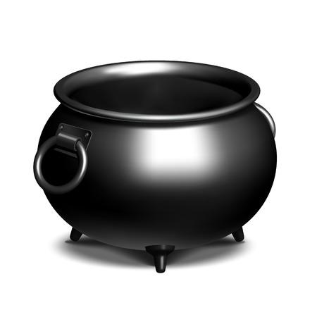 Vintage Empty black iron cauldron