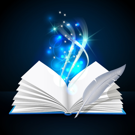 Open book with mystic bright light and feather Illustration
