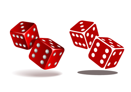 Red dice with white pips on white background