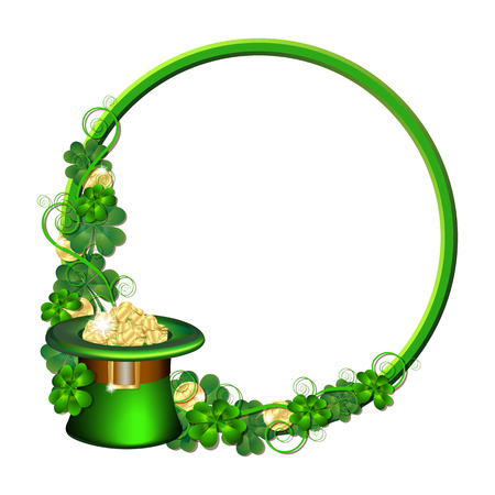 St. Patricks day card design with green wreath and Green hat with coins