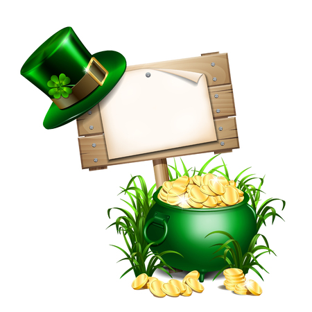 Saint Patricks Day background with empty paper blank on wooden signboard in grass, green hatwith clover leaf and green pot full of gold coins. Vector illustration.