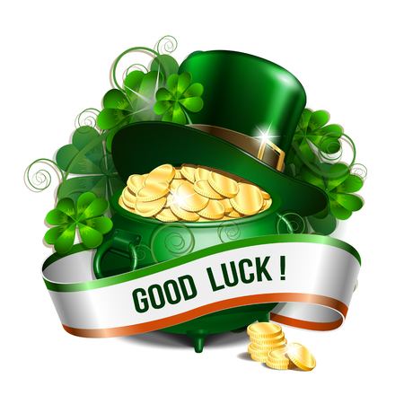 Patrick day card with ribbon, leprechaun hat, pot full of coins and clover leaves. St. Patricks Day symbols. Vector illustration