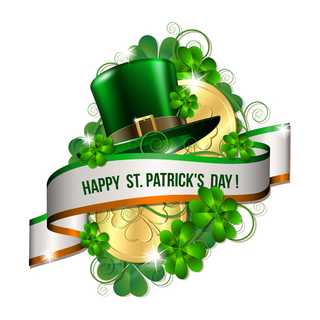 happy st. patricks day card with green hat, shamrock leaves Vector illustration.