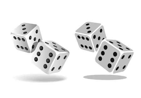 Two white falling dice isolated on white Illustration
