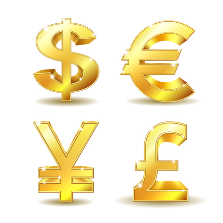 Set of golden currency sign