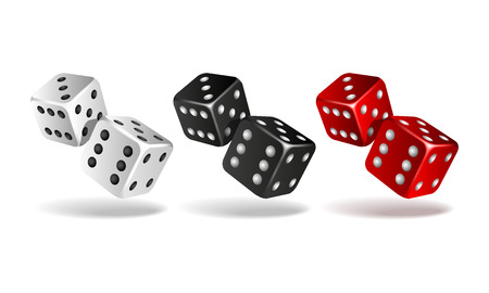 Set of falling dice isolated on white. Stock Illustratie