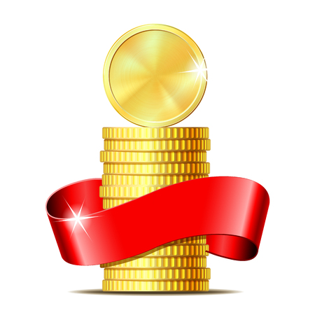 Stack of coins with red ribbon. Concept of pecuniary profit, finance success or presents. Vector illustration isolated on white background