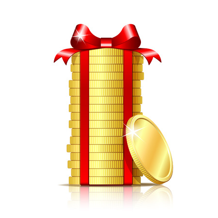 Stack of coins wrapped with red ribbon and gift bow. Concept of pecuniary profit, finance success or presents. Vector illustration isolated on white backgr Stock Photo