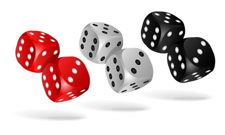 Set of falling dice, isolated on white background. Illustration