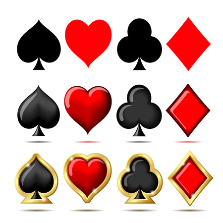 3d Suit of playing cards illustration on white background.