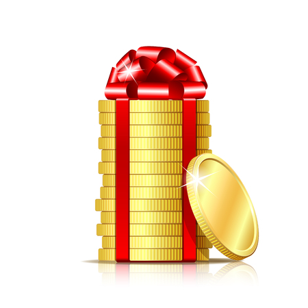 Stack of coins with red ribbon and gift bow illustration.