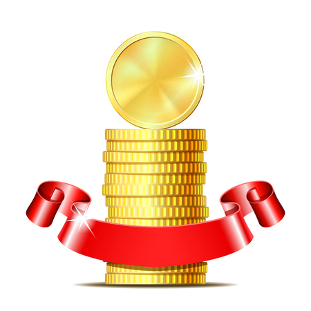 Stack of coins with red ribbon. Illustration