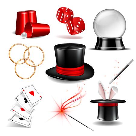 Magician symbol set vector illustration