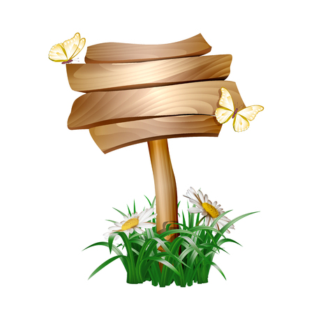 Summer wooden sign with green grass Ilustrace