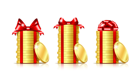 Stack of coins with red ribbon and gift bow. vector illustration