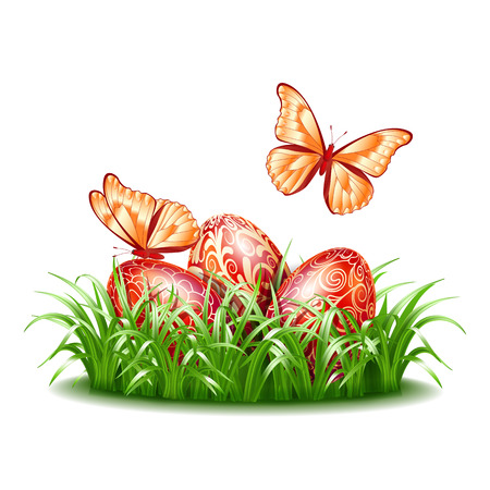 Three Red Easter eggs in grass with flying butterflies. Design for easter greetings card, banner, wallpaper or poster. Vector illustration isolated on white background. Illustration