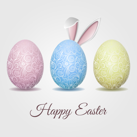 Easter card with pale pastel Eggs and Bunny ears Illustration