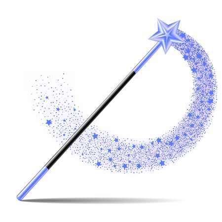 Magic Wand with blue sta and sparkle trail