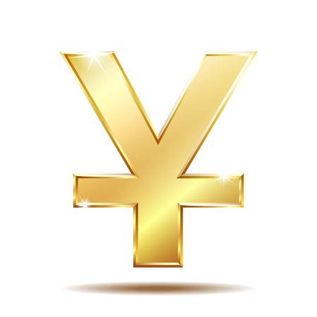 Shiny golden Yuan currency symbol Illustration