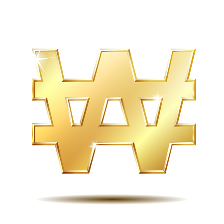Gold shiny Korean won symbol Stock Photo
