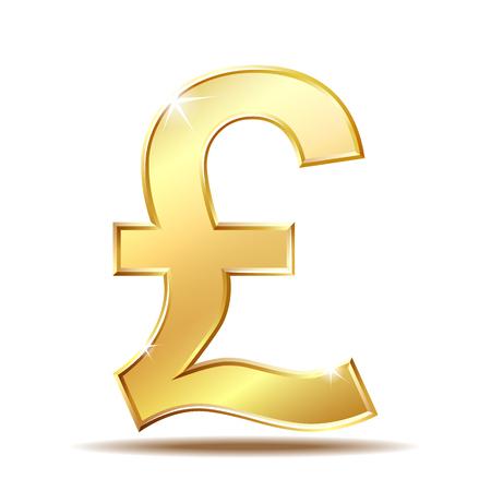 Shiny golden pound currency symbol. Illustration