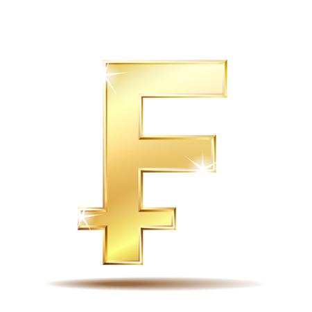 Swiss Franc currency shiny gold symbol. Switzerland sign. Vector illustration isolated on white background.