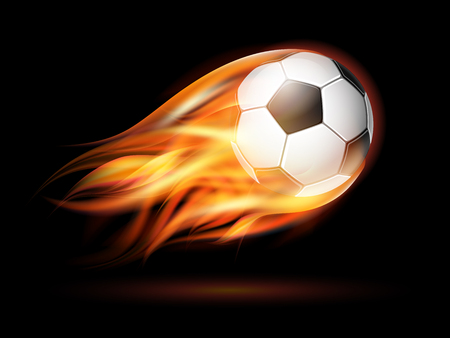 Flying football on fire. Soccer ball with bright flame trail on the black background