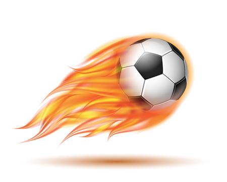 Flying football or soccer ball on fire. Illustration