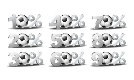 Set of percent discount icons with soccer ball