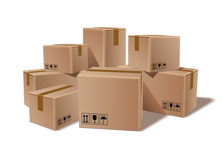 Pile of stacked sealed goods cardboard boxes. Delivery, cargo, logistic and transportation warehouse storage concept. Vector illustration isolated on white background. Vectores