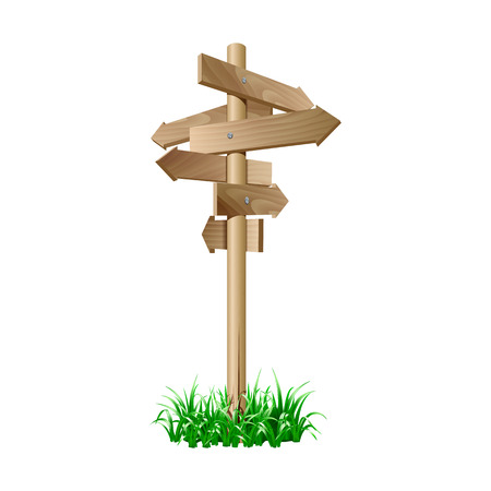 Multidirectional wooden road signpost with arrows pointing in different directions in grass isolated on white background. vector illustration