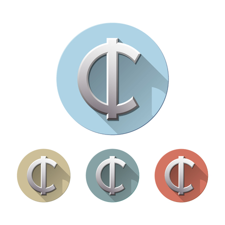 Set of Cedi currency symbol on colored circle flat icons, isolated on white. Ghana Sign monetary unit. Financial, business and investment concept. Vector illustration